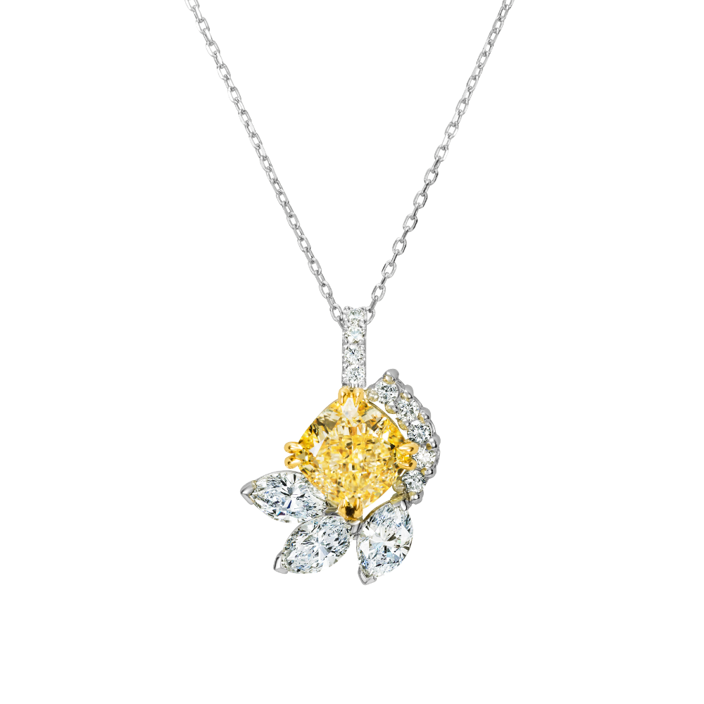 Natural Fancy Intense Yellow Diamond Pendant