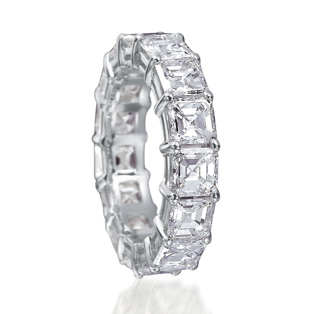 Square Emerald Cut Diamond Full Eternity Rings