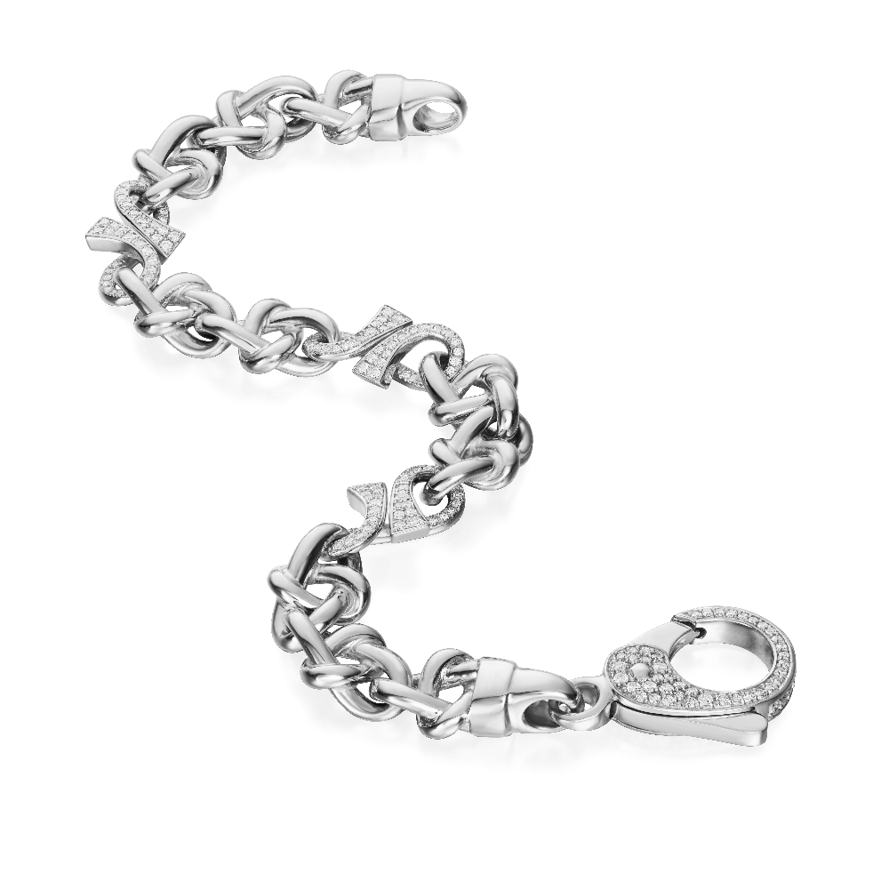 18ct White Gold Bracelet With Diamond Set 'GC' Links and Clasp