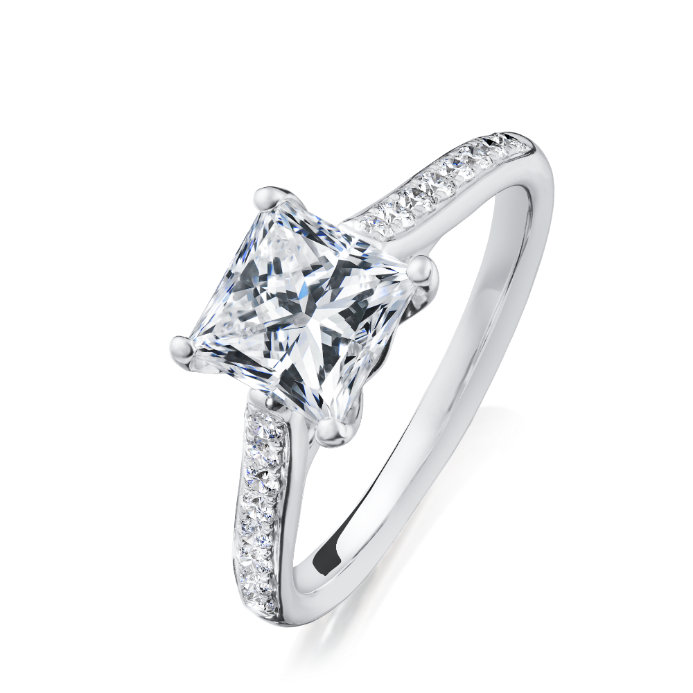 Princess Cut Diamond Engagement Ring With Diamond Set Shoulders