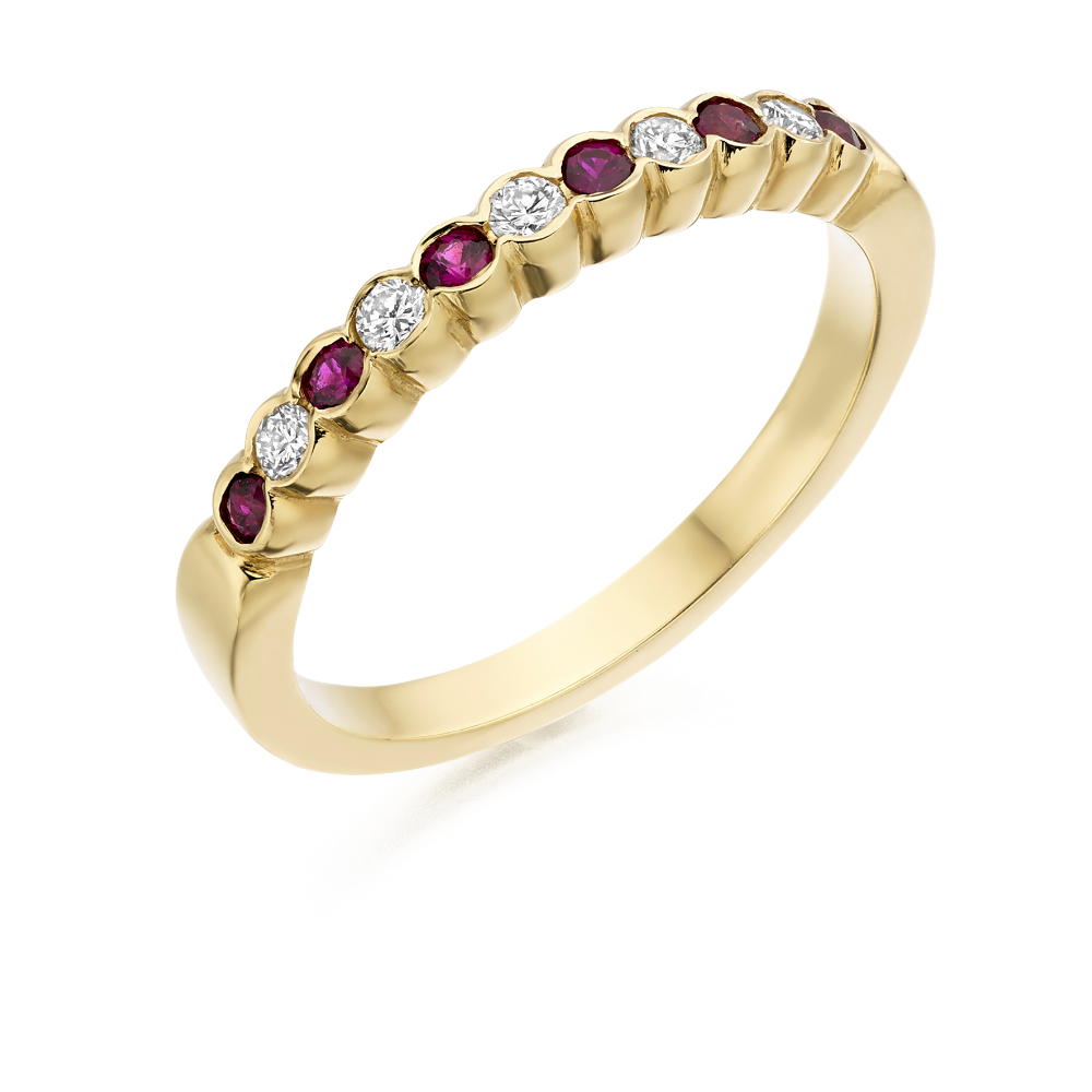 Ruby and Diamond Scalloped Edge Yellow Gold Half Eternity Ring