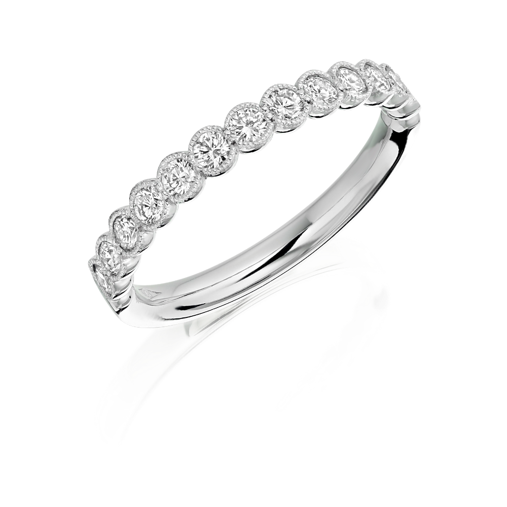 Diamond Half Eternity Ring with Milgrain Scalloped Edge