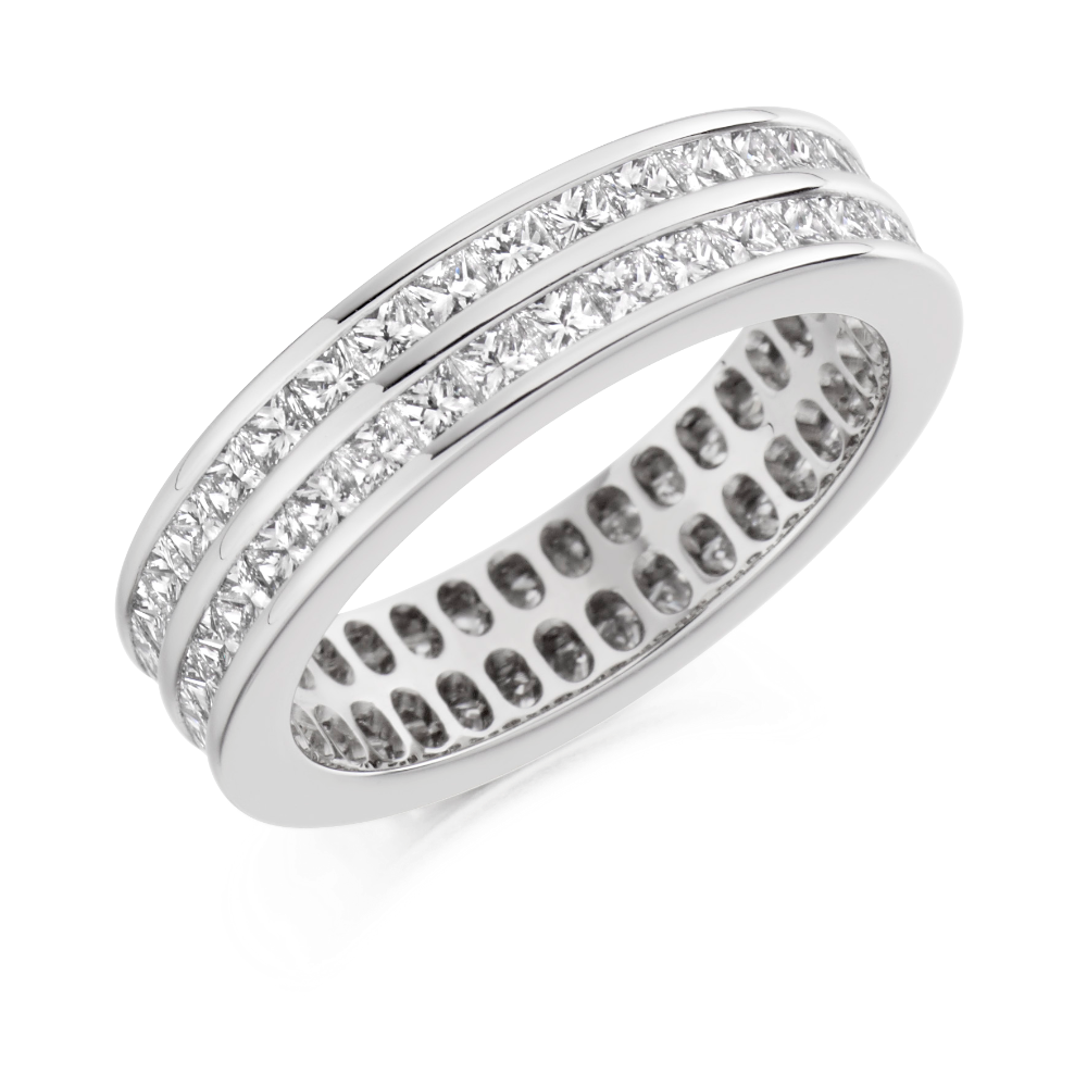Double Row Princess Cut Eternity Ring