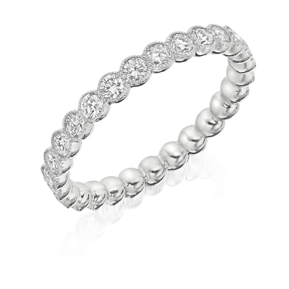 Diamond Full Eternity Ring with Milgrain Scalloped Edge