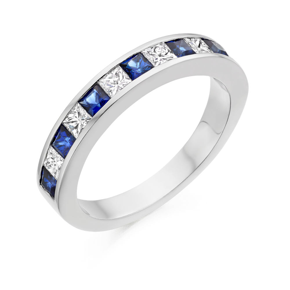 Sapphire and Diamond Princess Cut Eternity Ring