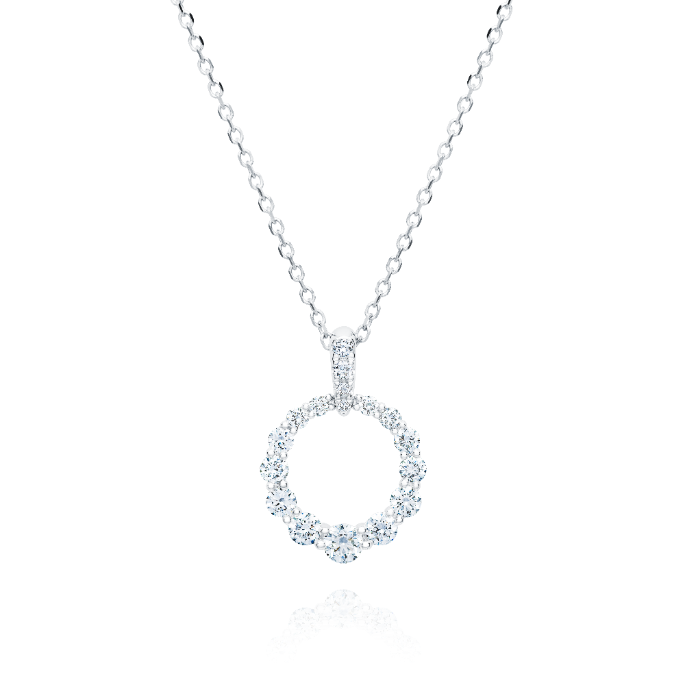 Graduated Diamond Circle Pendant