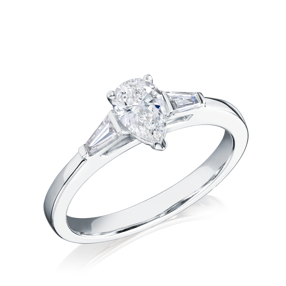 Pear Shape Diamond Engagement Ring With Tapering Baguette Cut Shoulders
