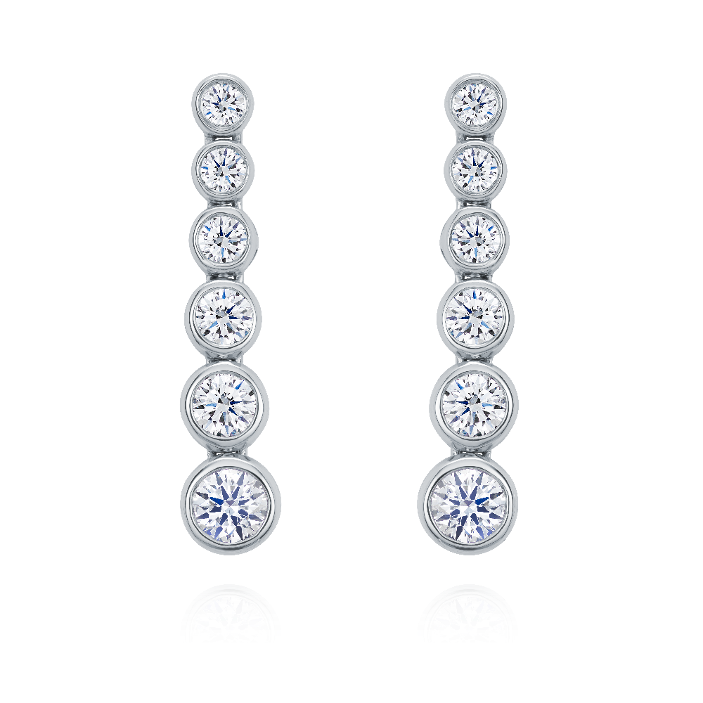 Rub Over Set Graduated Diamond Drop Earrings