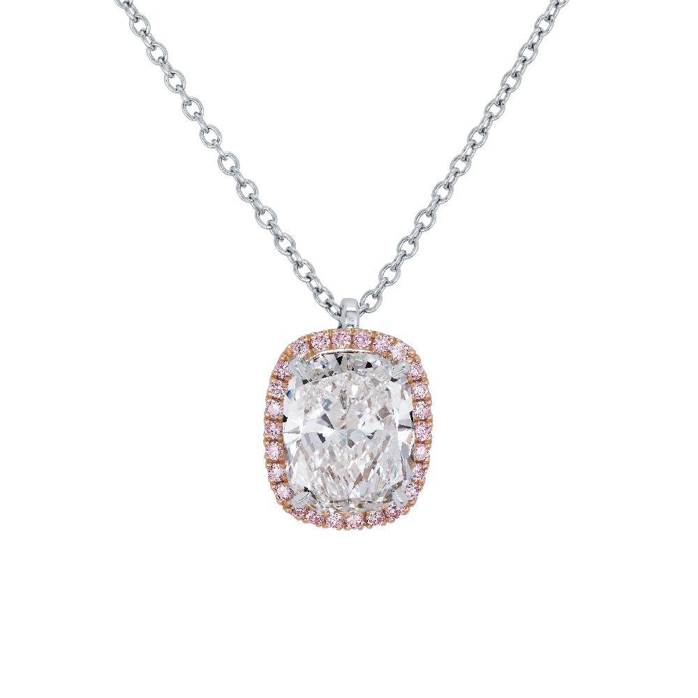 Cushion Cut Diamond Pendant With Pink Diamond Surround