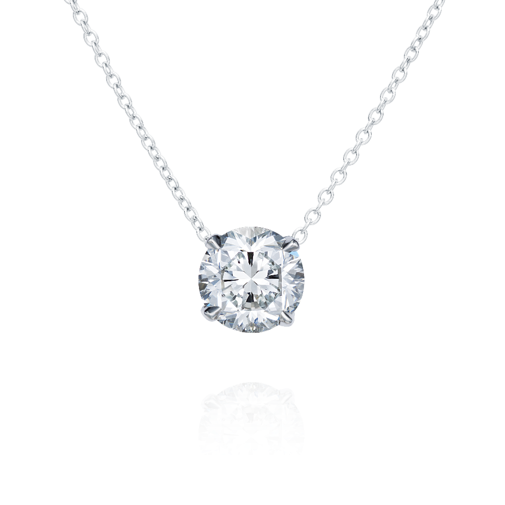 Diamond Pendant On a Fixed Platinum Chain