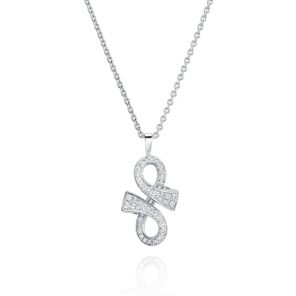 Diamond Set White Gold 'GC' Pendant