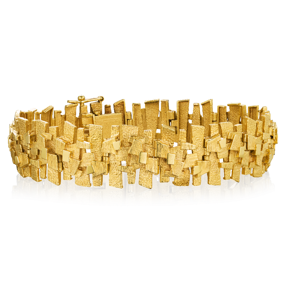 9ct Yellow Gold Bark Effect Bracelet