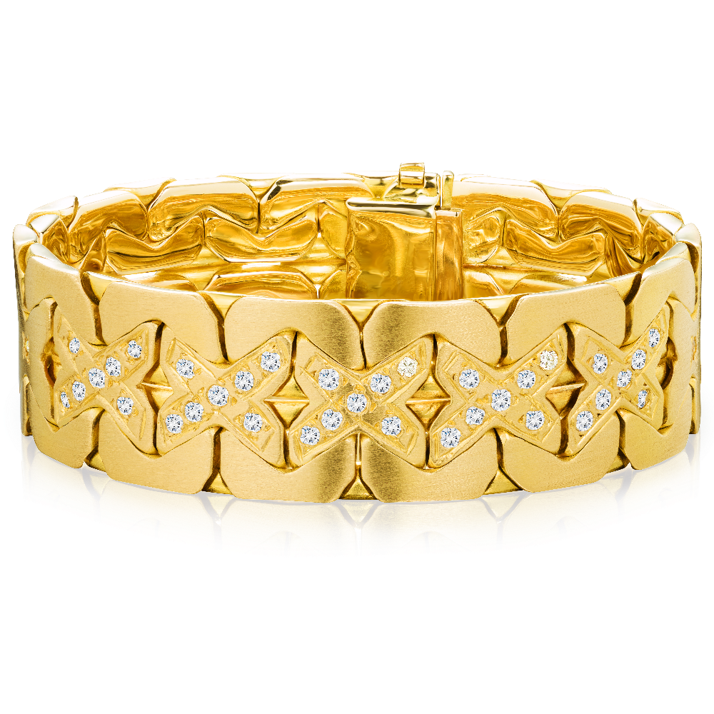 Diamond Set 18ct Gold 'X' Link Bracelet