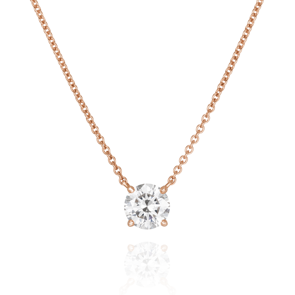 18ct Rose Gold Single Stone Pendant