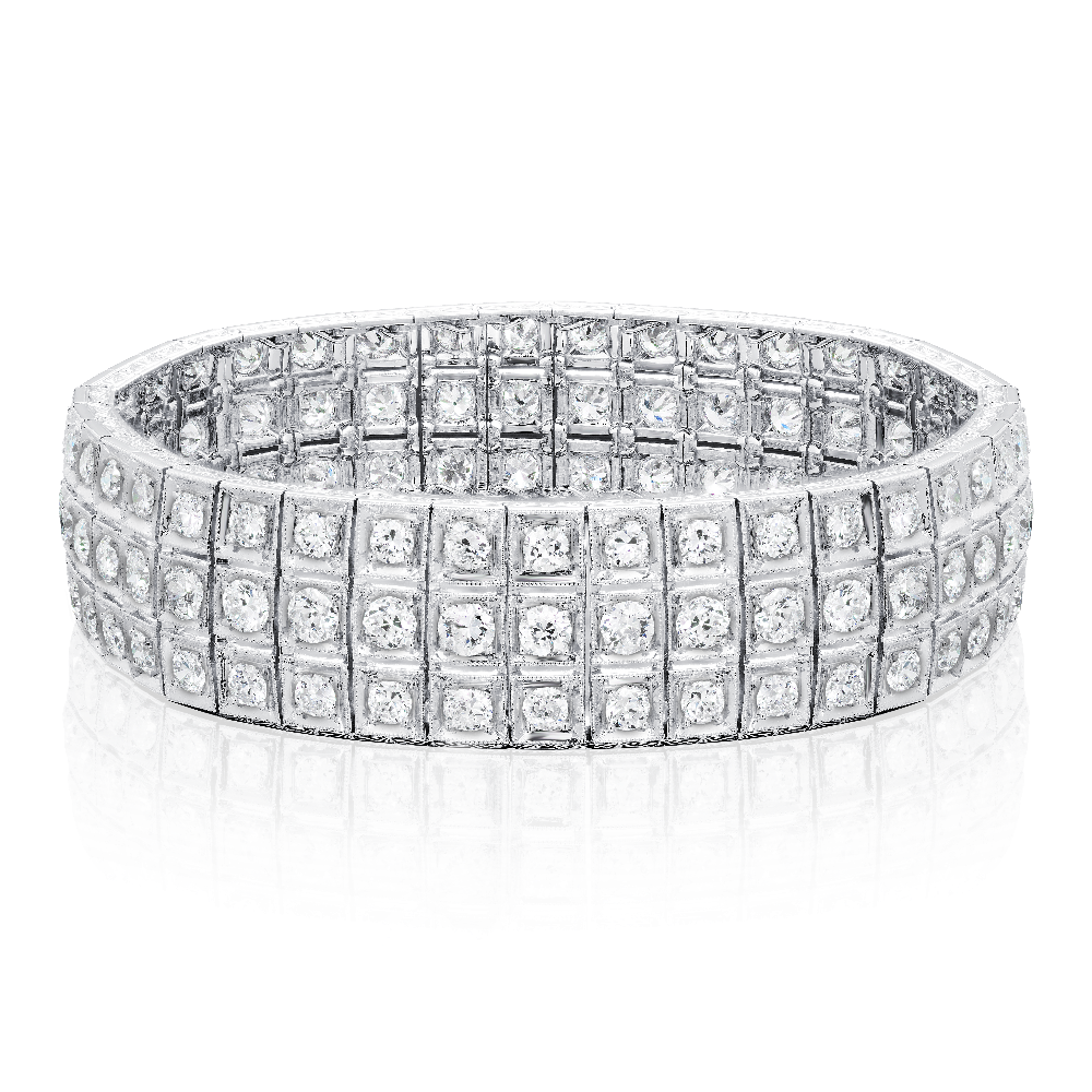 Three Row Old Cut Diamond Bracelet