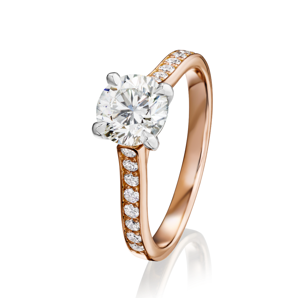 Diamond Engagement Ring With 18ct Rose Gold Shoulders