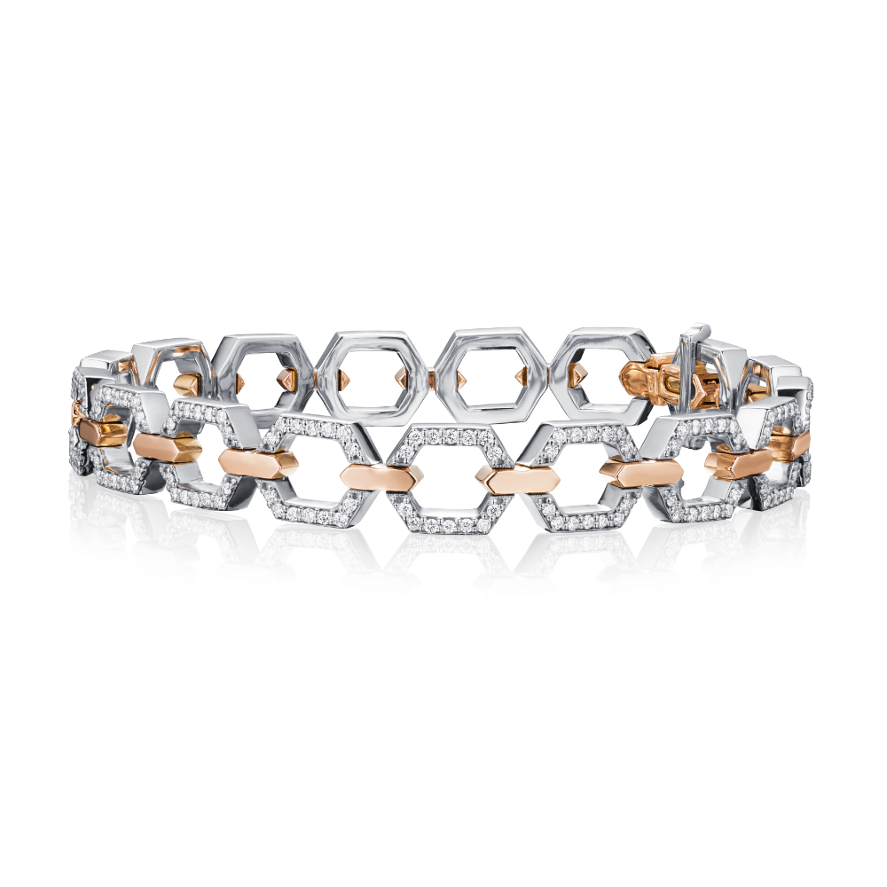 Nectar Collection Diamond Set Platinum and Rose Gold Bracelet