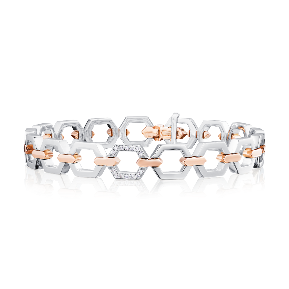 Nectar Collection Platinum Bracelet With Diamond Set Link