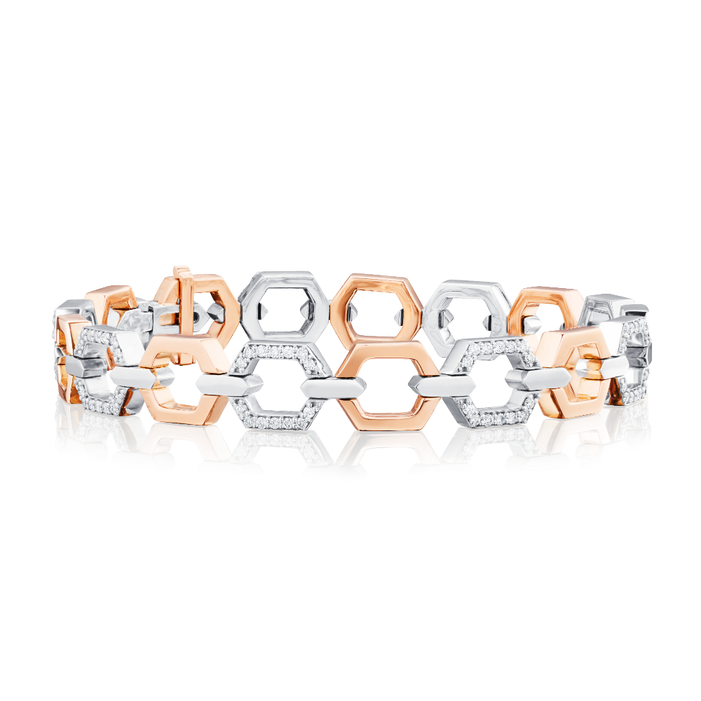 Nectar Collection Rose Gold Bracelet With Diamond Set Links