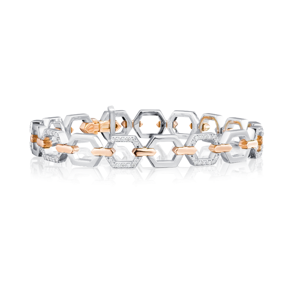 Nectar Collection Platinum Bracelet With Diamond Set Links