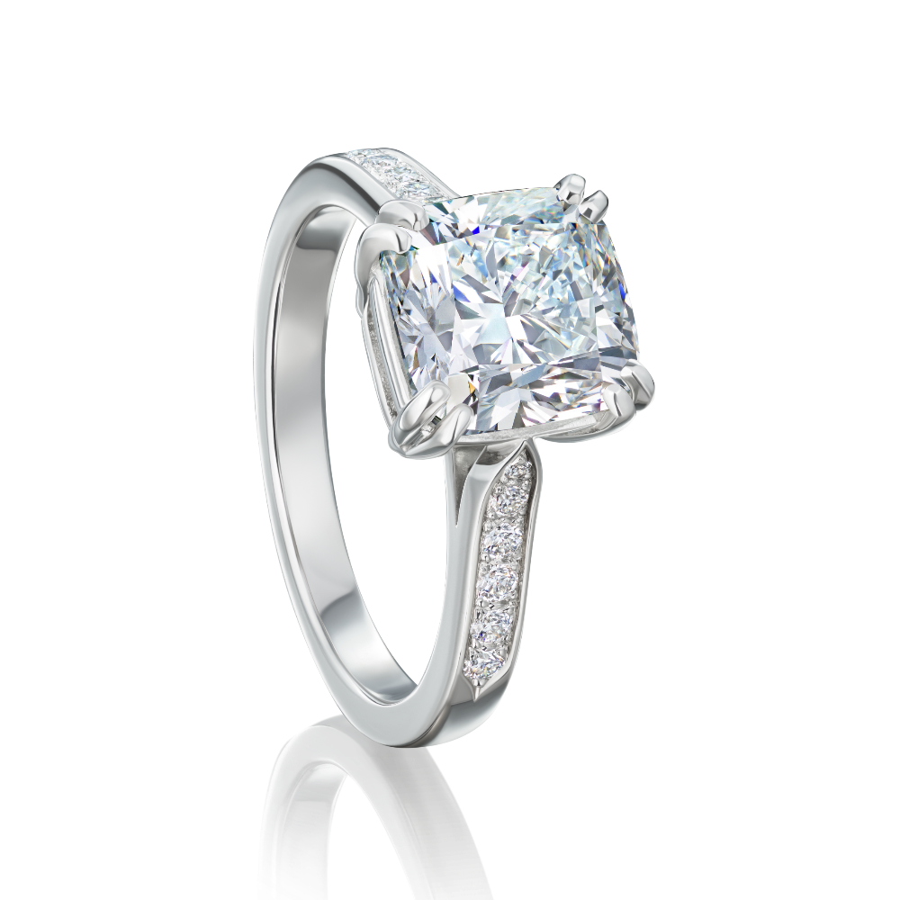Cushion Cut Diamond Engagement Ring in Double Claw Setting