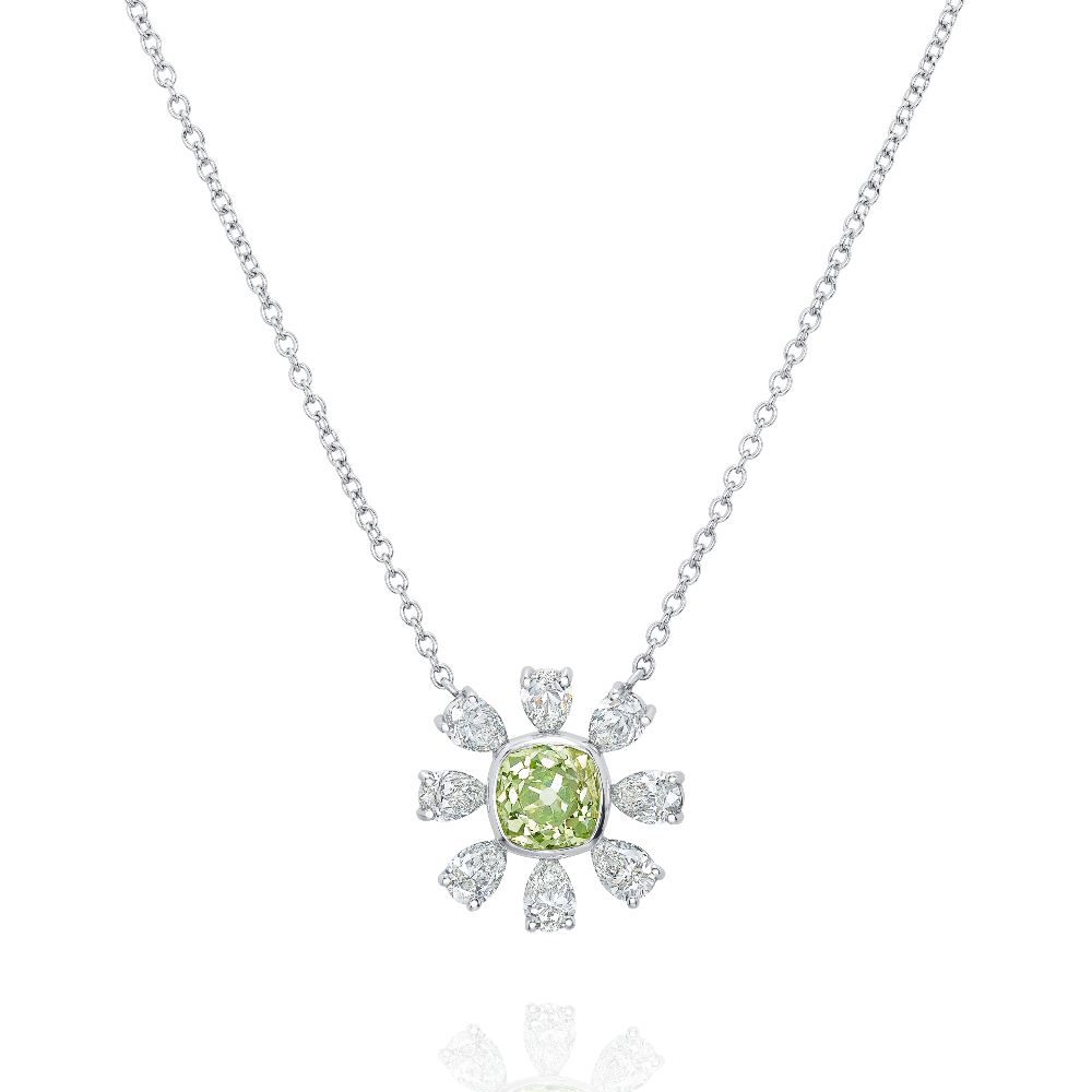 Yellow-Green Diamond Flower Pendant
