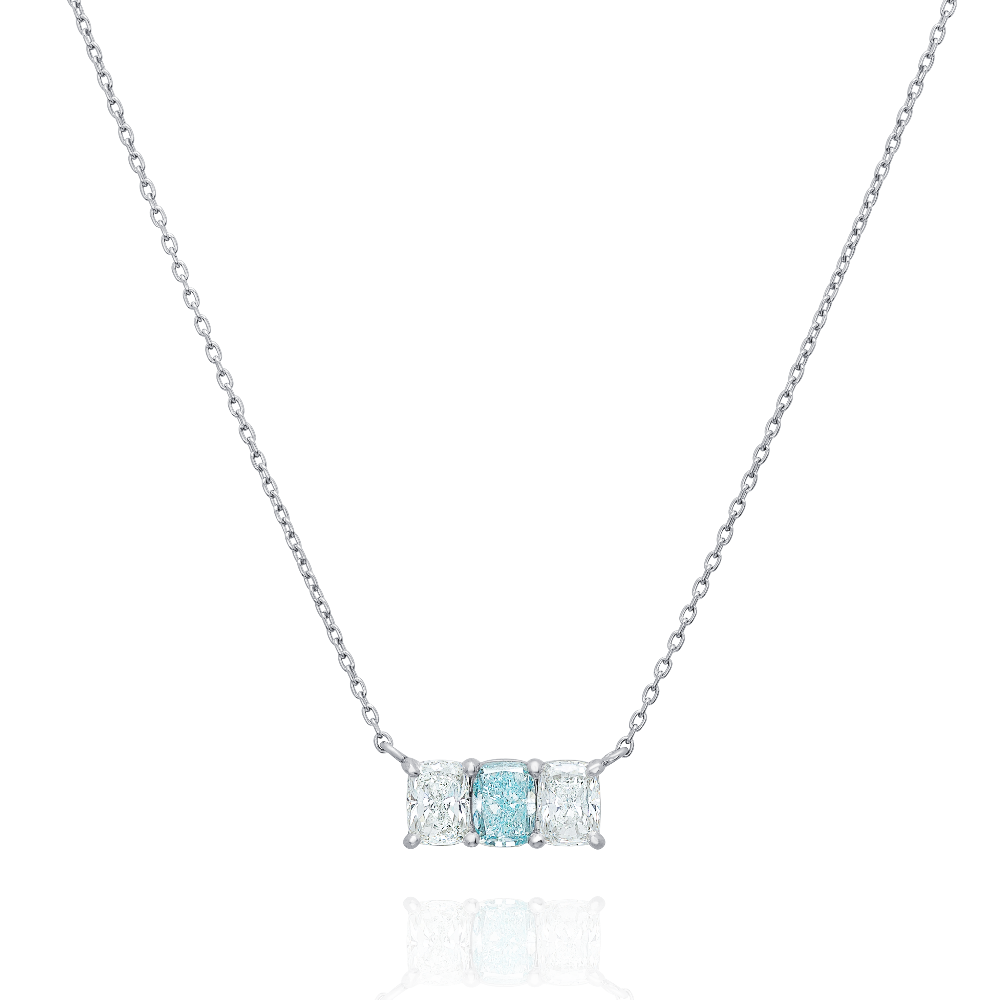 Natural Fancy Intense Green-Blue Diamond Pendant