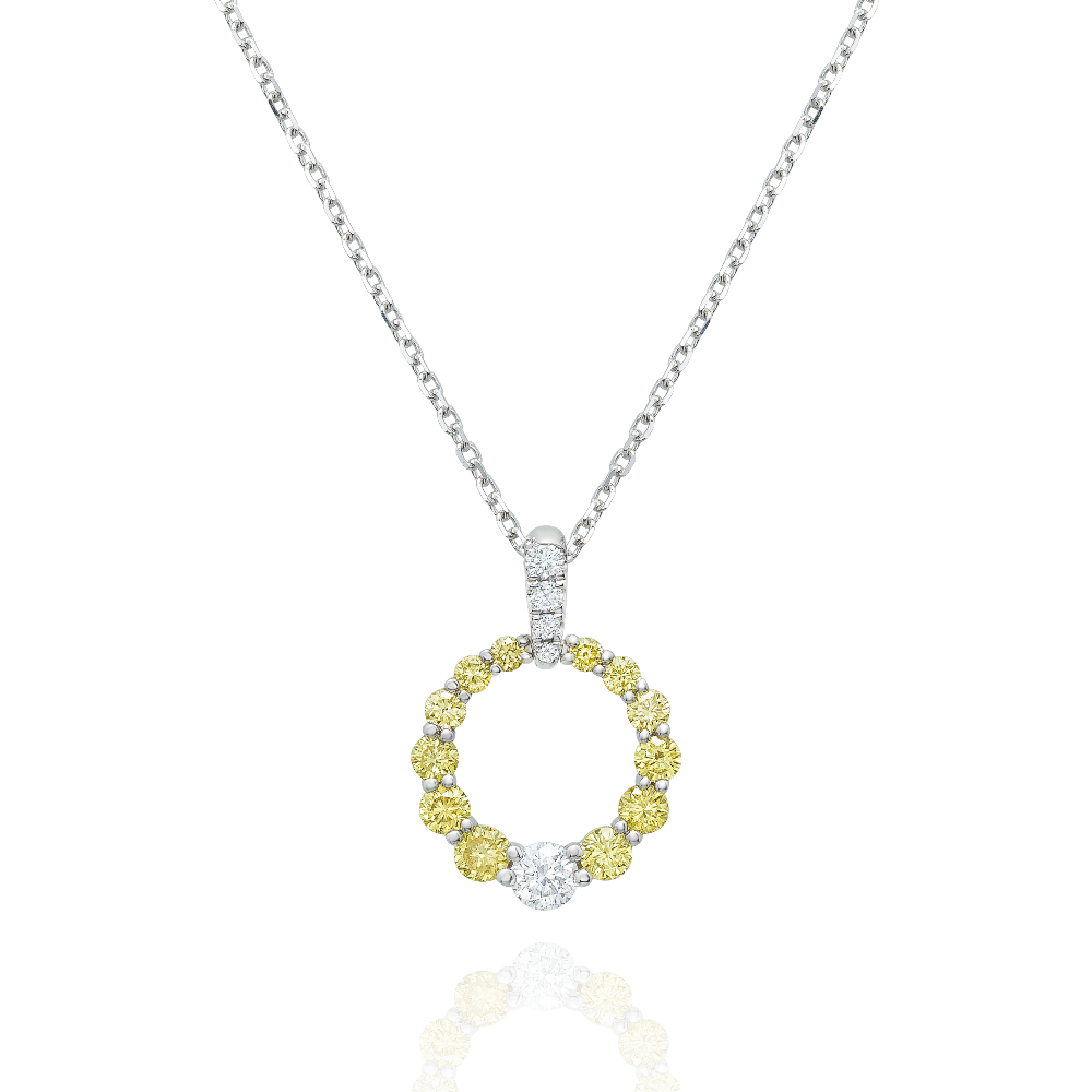 Yellow Diamond Circle Pendant