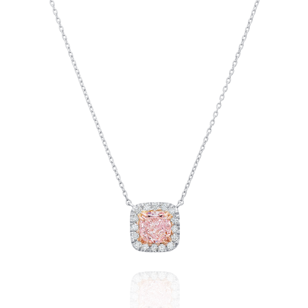 Certificated Natural Fancy Pink Diamond Pendant