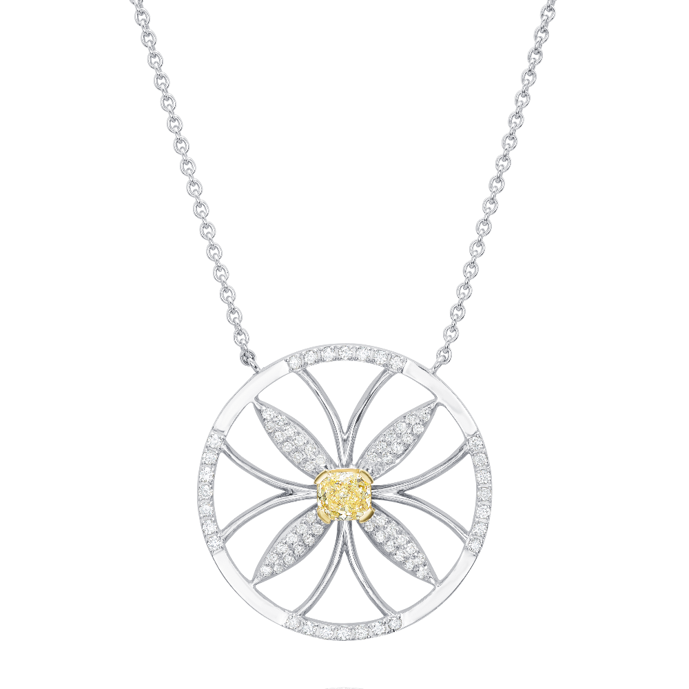 Natural Yellow Diamond Flower Pendant