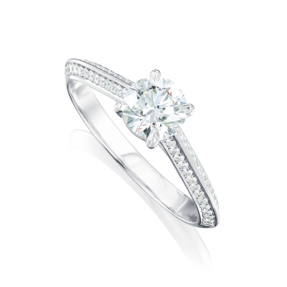 Diamond Engagement Ring With Diamond Set Knife Edge Shooulders