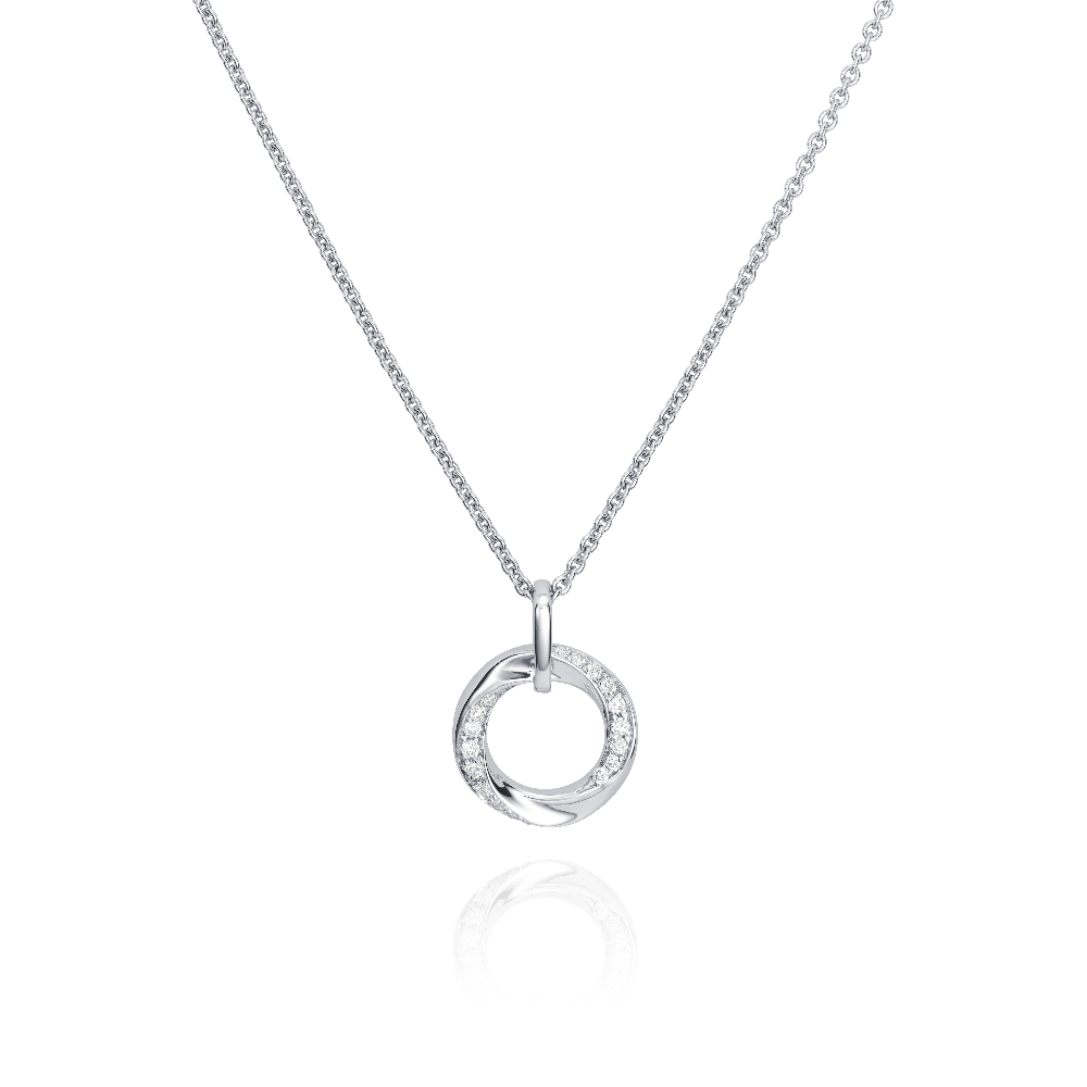 18ct White Gold Circle Pendant Set With Diamonds