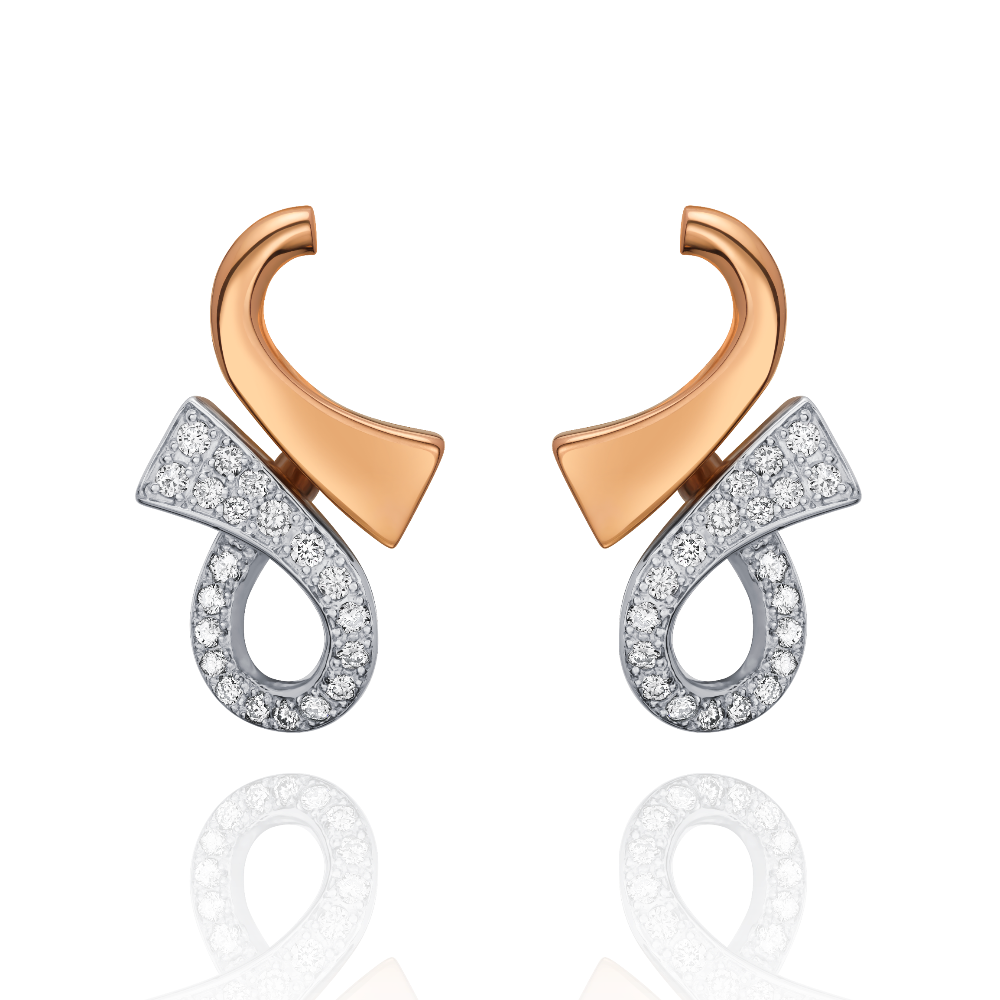 18ct Rose Gold and Diamond Set 'GC' Earrings