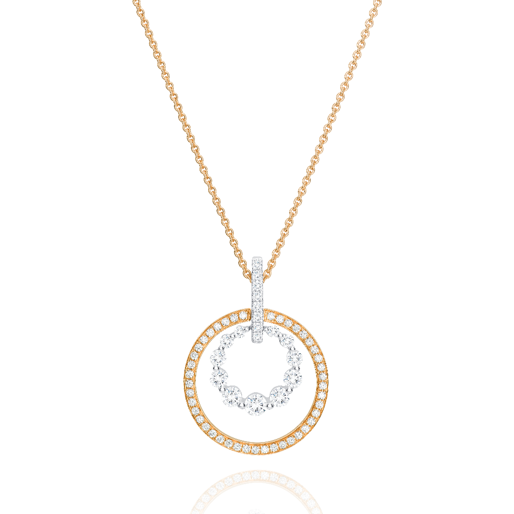 Bicolour Diamond Circle Pendant