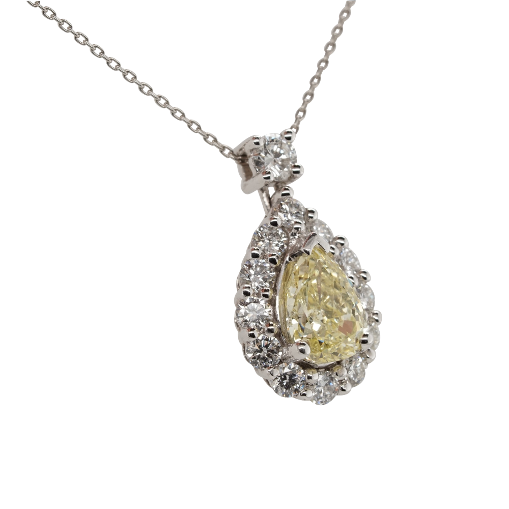 Natural Yellow Diamond Pear Shape Cluster Pendant