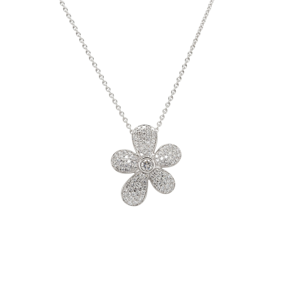 Pavé Diamond Abstract Flower Pendant