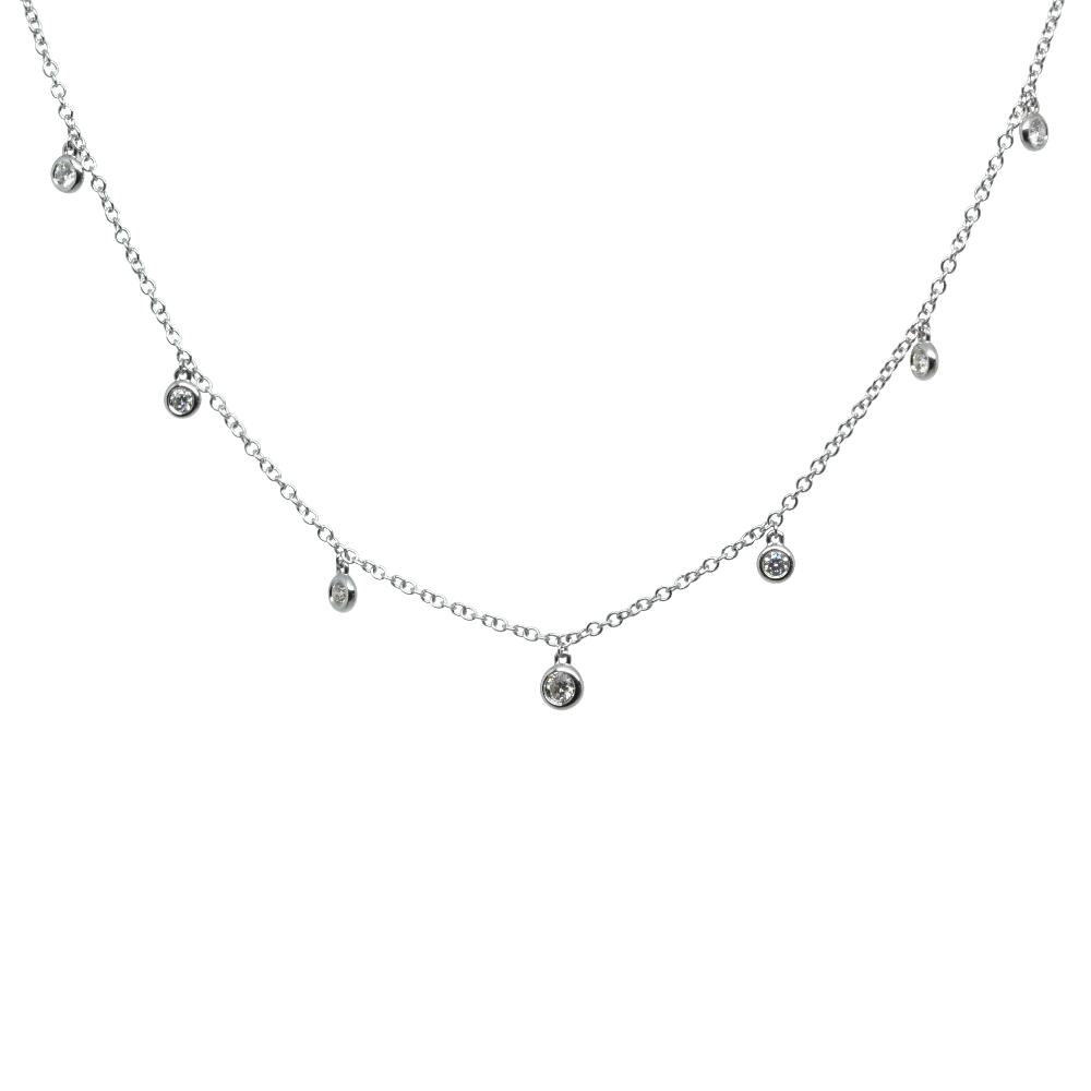 Seven Diamond Drop Necklet