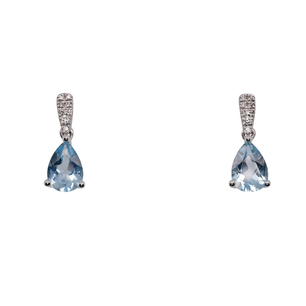 Pear Shape Aquamarine Drop Earrings