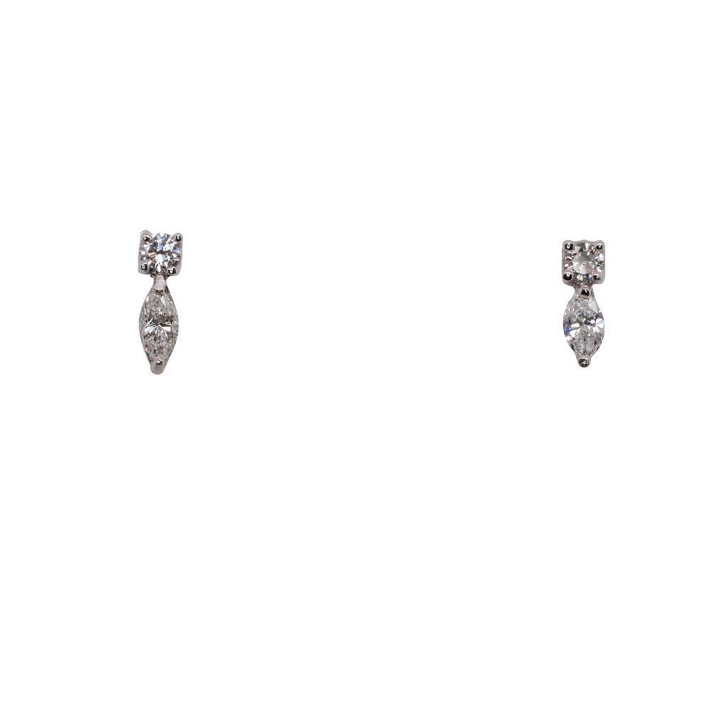 Marquise and Round Brilliant Cut Diamond Earrings