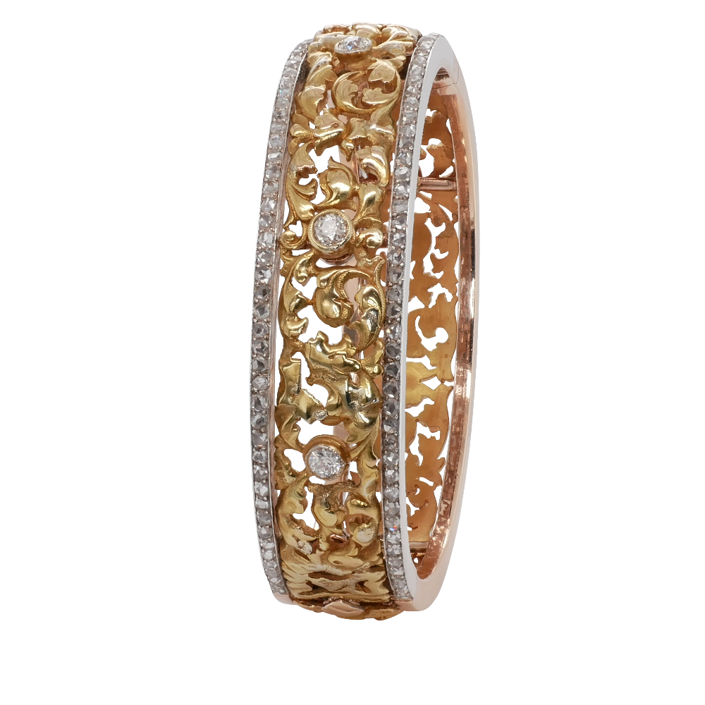 Floral Design 18ct Yellow Gold and Silver Bangle