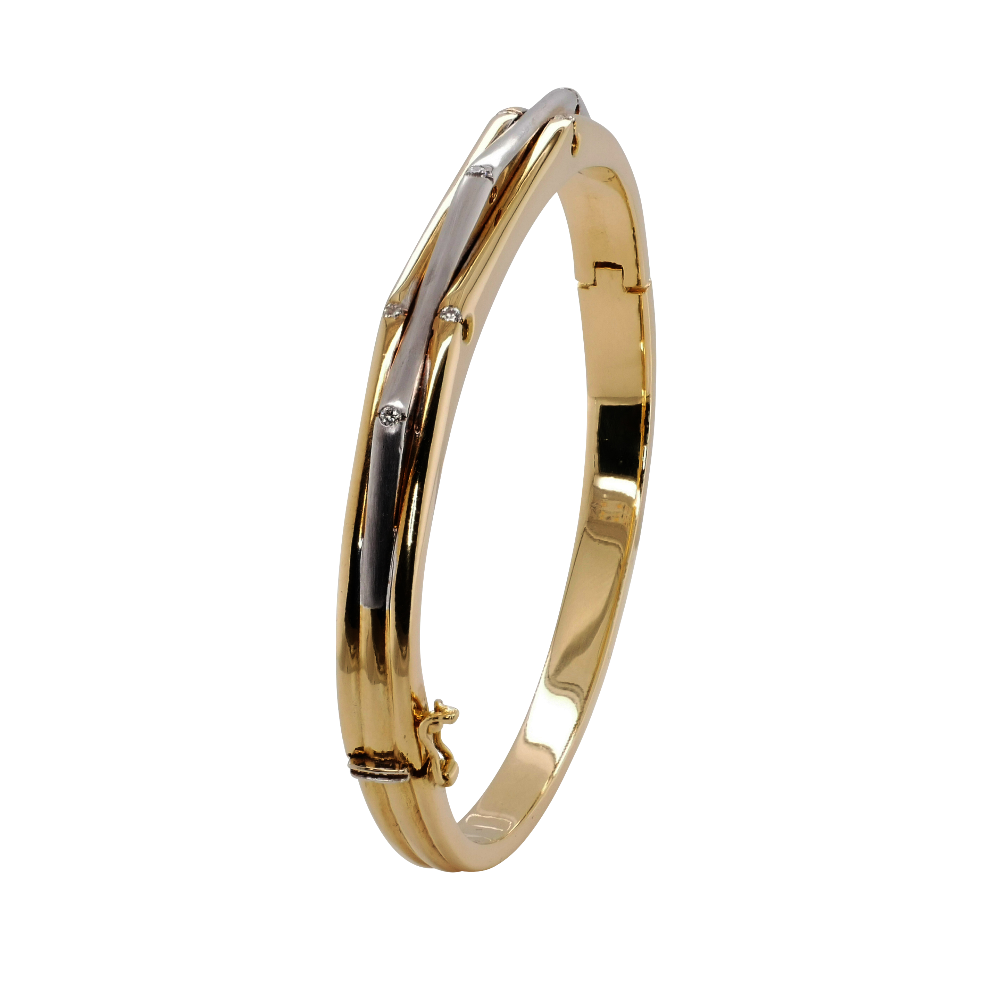 18ct White and Yellow Gold Bangle Set With Diamonds