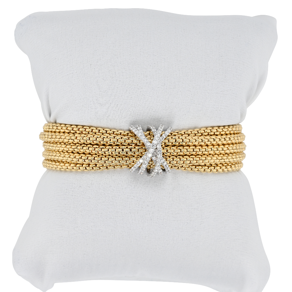 Fope Five Row Mialuce Yellow Gold Bracelet