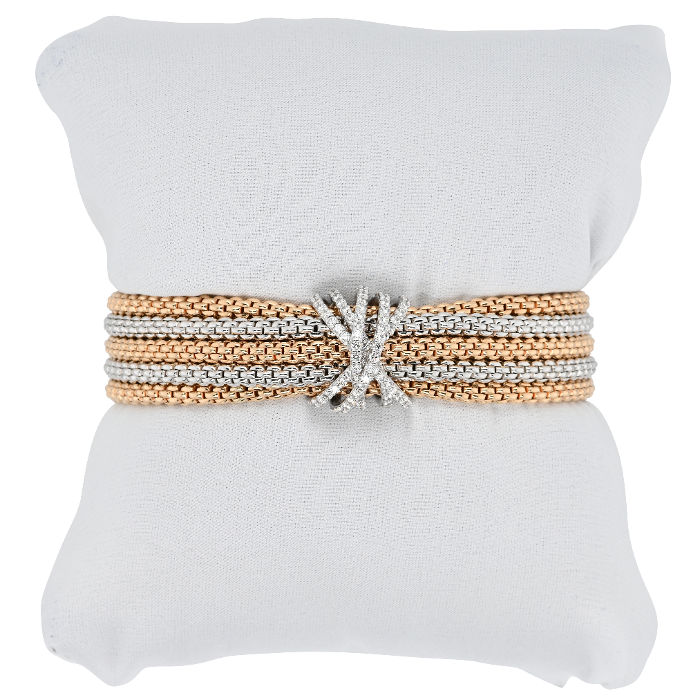 Fope Five Row Mialuce Rose and White Gold Bracelet