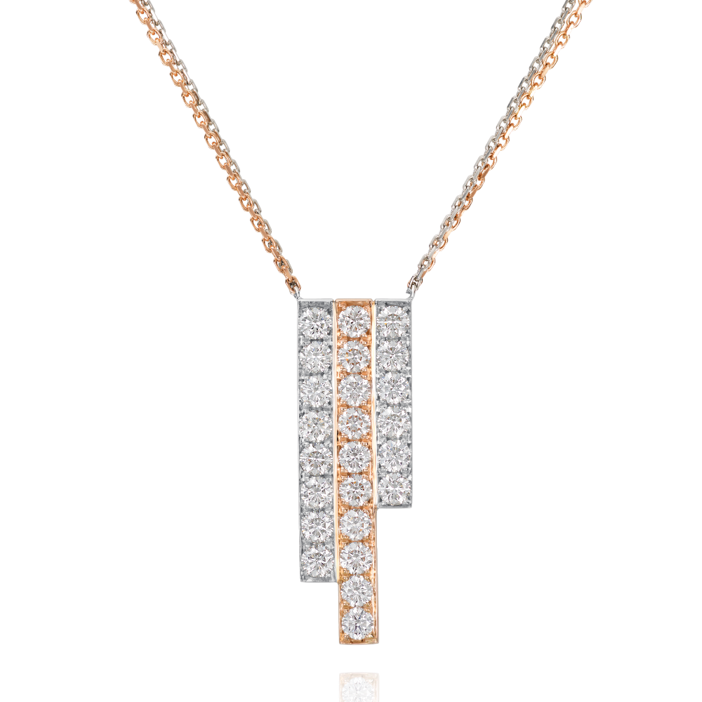 Three Row Rose Gold and Platinum Skyline Pendant
