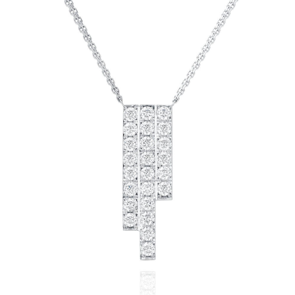 Three Row Platinum Skyline Pendant