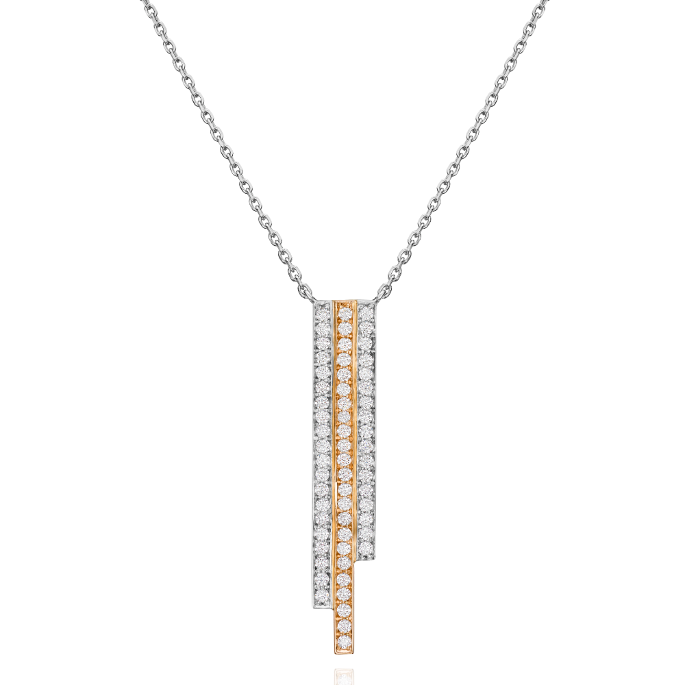 3 Row Platinum and Rose Gold Skyline Pendant