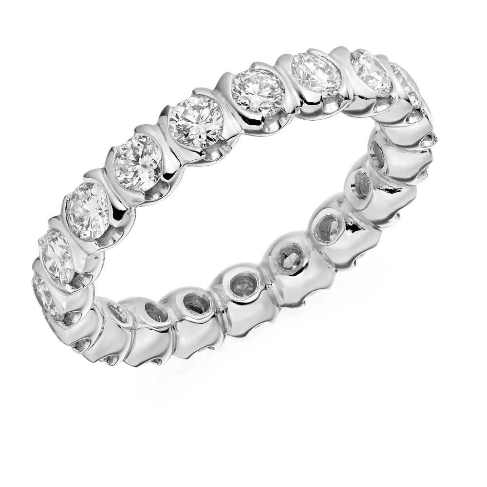 Half Moon Set Diamond Full Eternity Ring