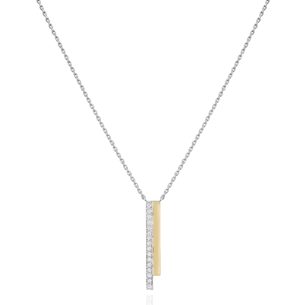 2 Row Platinum and Yellow Gold Skyline Pendant