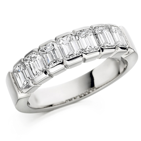 Emerald Cut Diamond Half Eternity Ring