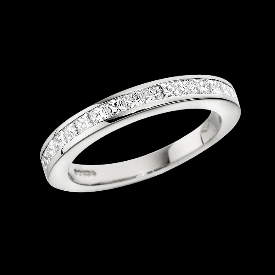 Channel-Set Princess Cut Diamond Full Eternity Ring
